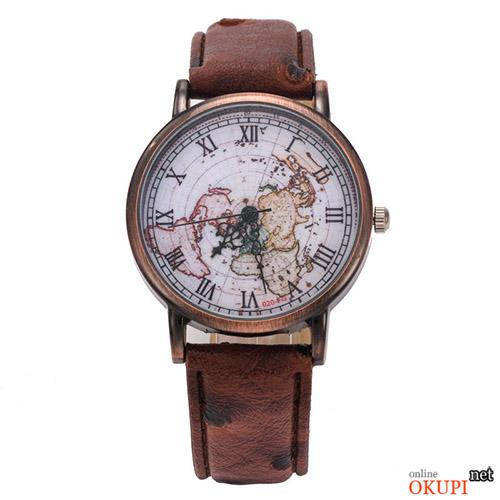 Мужские часы с ретро картой мира
