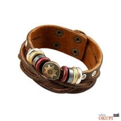 Мужской браслет кожаный со звездой