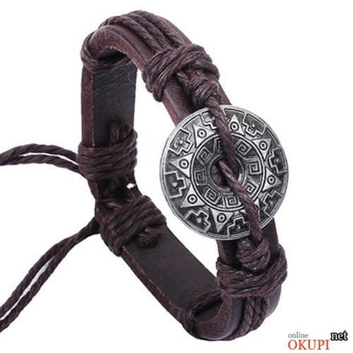 Мужской браслет кожаный винтажный