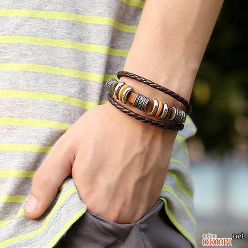 Мужской браслет кожаный тройной