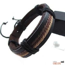 Мужской браслет кожаный в три цвета