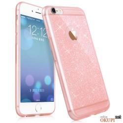 Чехол розовый с блесками на Iphone 6 plus