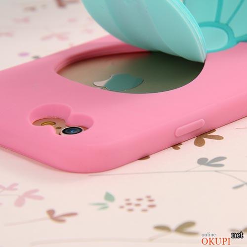 Чехол розовая бабочка с подставкой на Iphone 6/6s