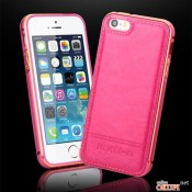 Чехол розовый бампер с кожей на Iphone 5/5s