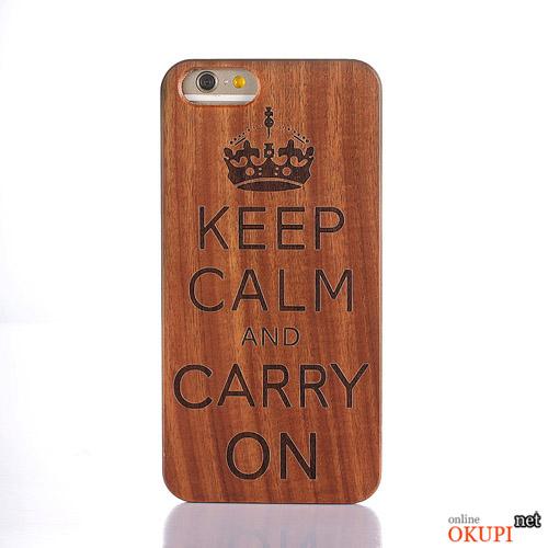 Чехол Деревянный Keep Calm на Iphone 6/6s