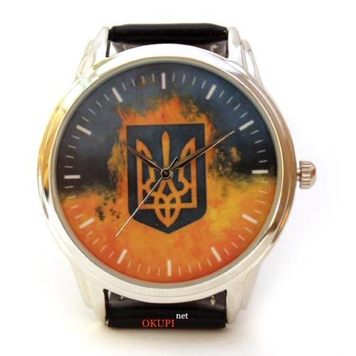 Патриотические часы с трезубцем и флагом Украины