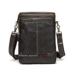 Мужская сумка из натуральной кожи строчка